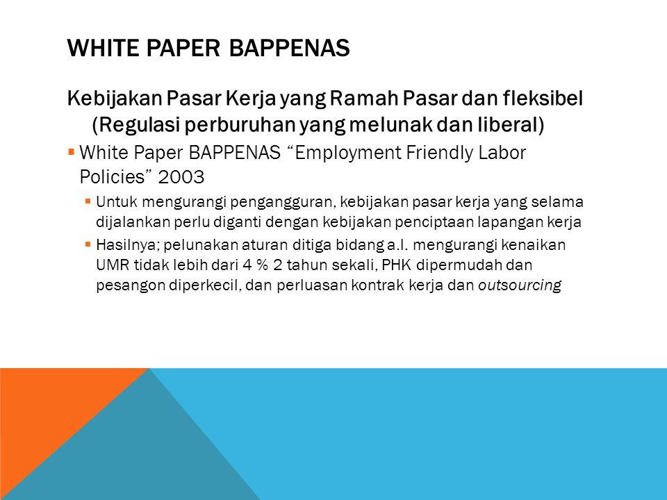White Paper Bappenas Kebijakan Pasar Kerja yang Ramah Pasar dan fleksibel (Regulasi perburuhan yang melunak dan liberal)