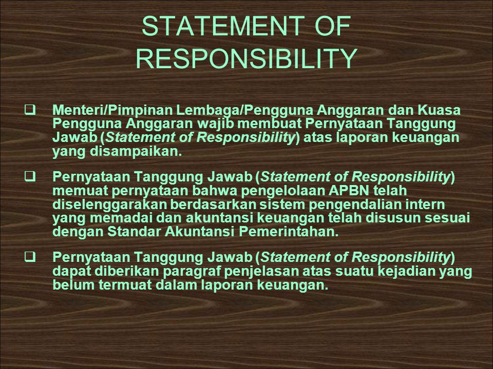 STATEMENT OF RESPONSIBILITY