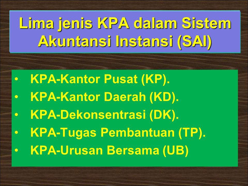 Lima jenis KPA dalam Sistem Akuntansi Instansi (SAI)