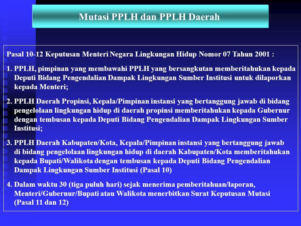 Mutasi PPLH dan PPLH Daerah