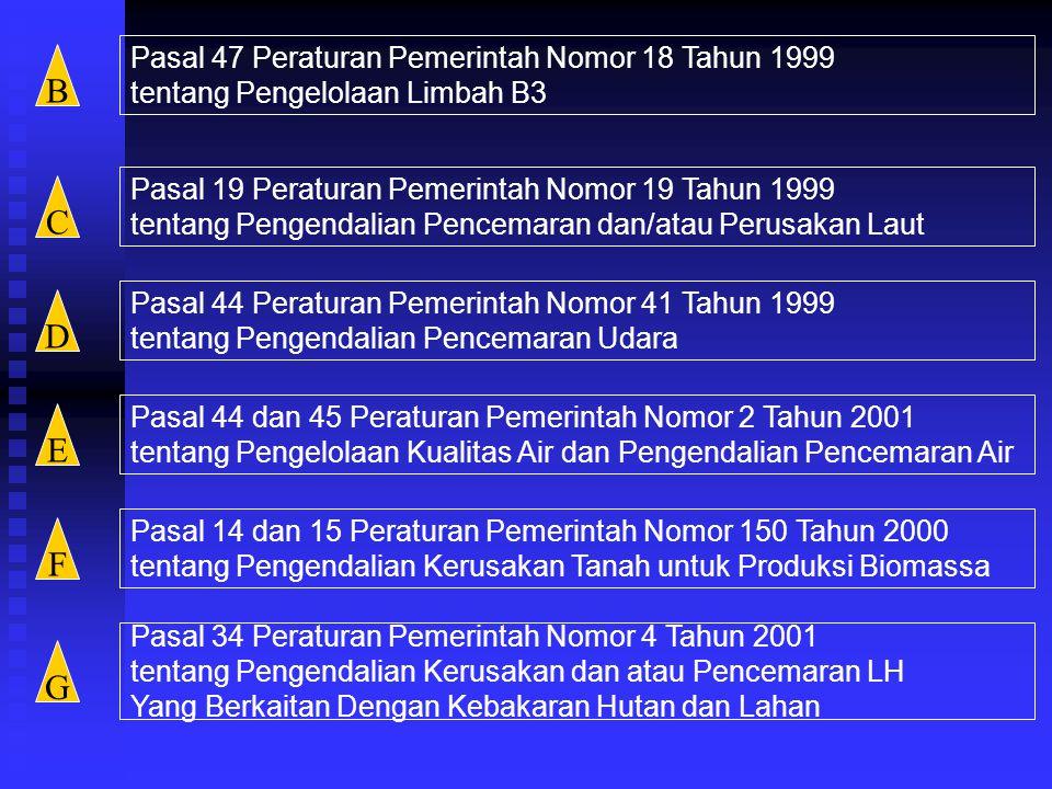 B C D E F G Pasal 47 Peraturan Pemerintah Nomor 18 Tahun 1999