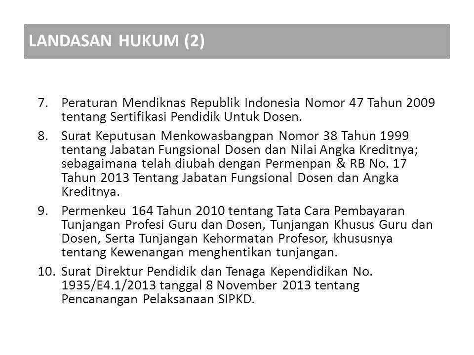 LANDASAN HUKUM (2) Peraturan Mendiknas Republik Indonesia Nomor 47 Tahun 2009 tentang Sertifikasi Pendidik Untuk Dosen.