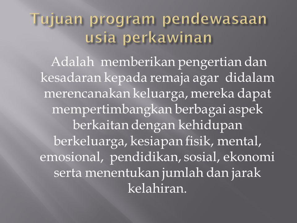 Tujuan program pendewasaan usia perkawinan