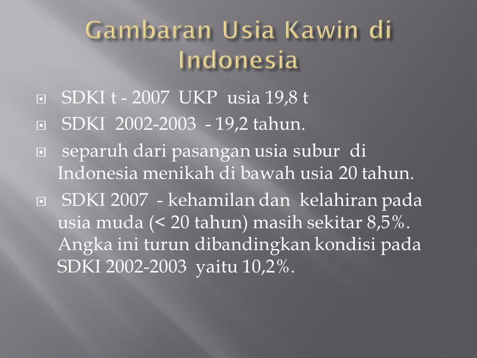 Gambaran Usia Kawin di Indonesia