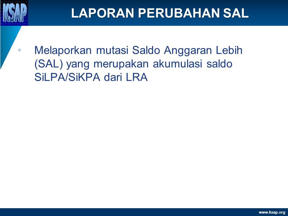 LAPORAN PERUBAHAN SAL Melaporkan mutasi Saldo Anggaran Lebih (SAL) yang merupakan akumulasi saldo SiLPA/SiKPA dari LRA.