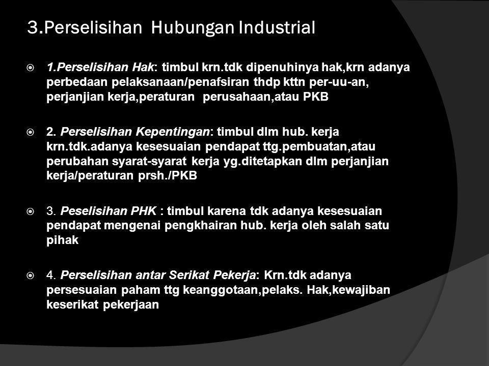 3.Perselisihan Hubungan Industrial