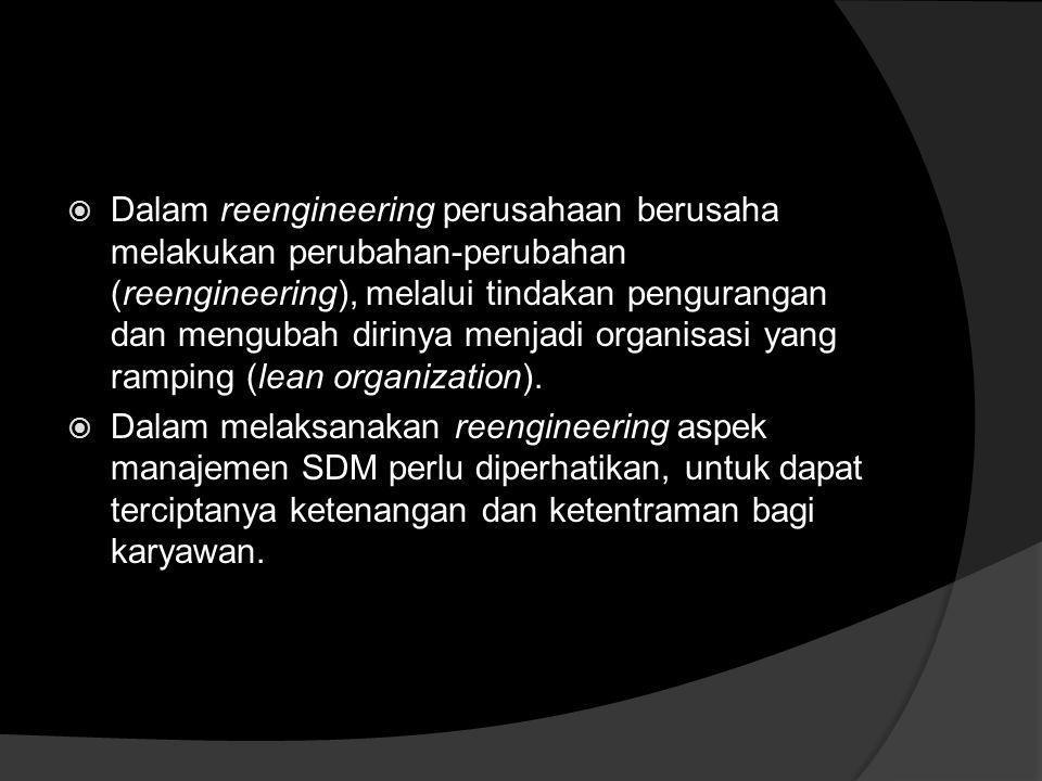 Dalam reengineering perusahaan berusaha melakukan perubahan-perubahan (reengineering), melalui tindakan pengurangan dan mengubah dirinya menjadi organisasi yang ramping (lean organization).