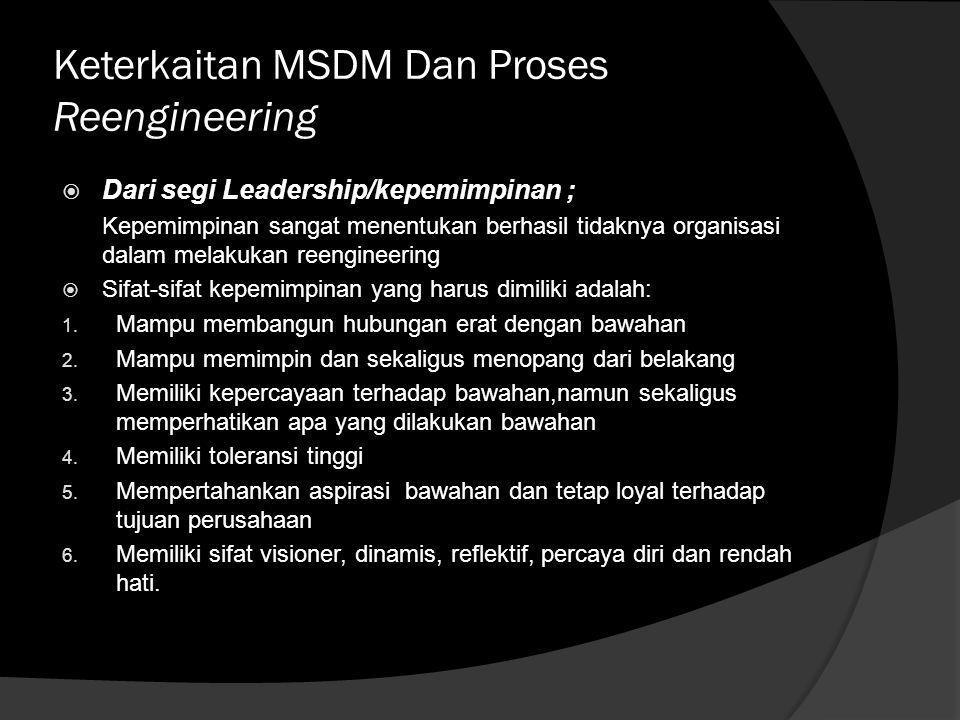 Keterkaitan MSDM Dan Proses Reengineering