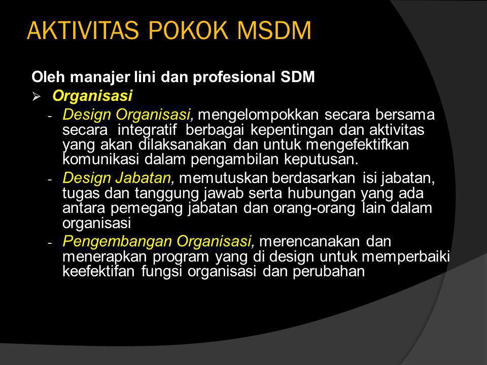 AKTIVITAS POKOK MSDM Oleh manajer lini dan profesional SDM Organisasi
