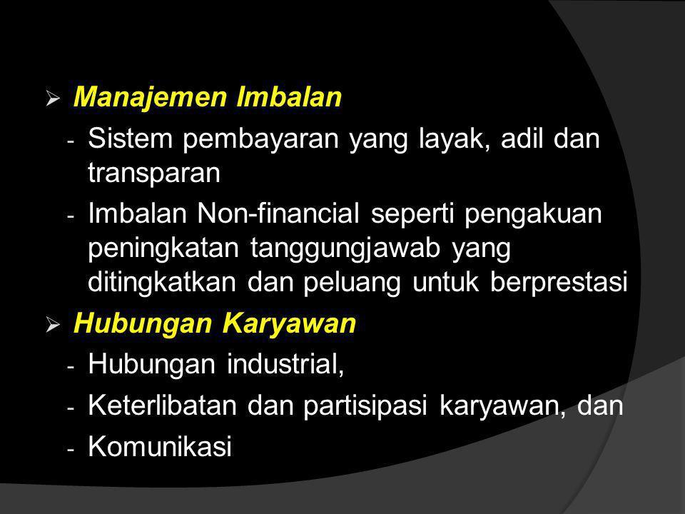Manajemen Imbalan Sistem pembayaran yang layak, adil dan transparan.