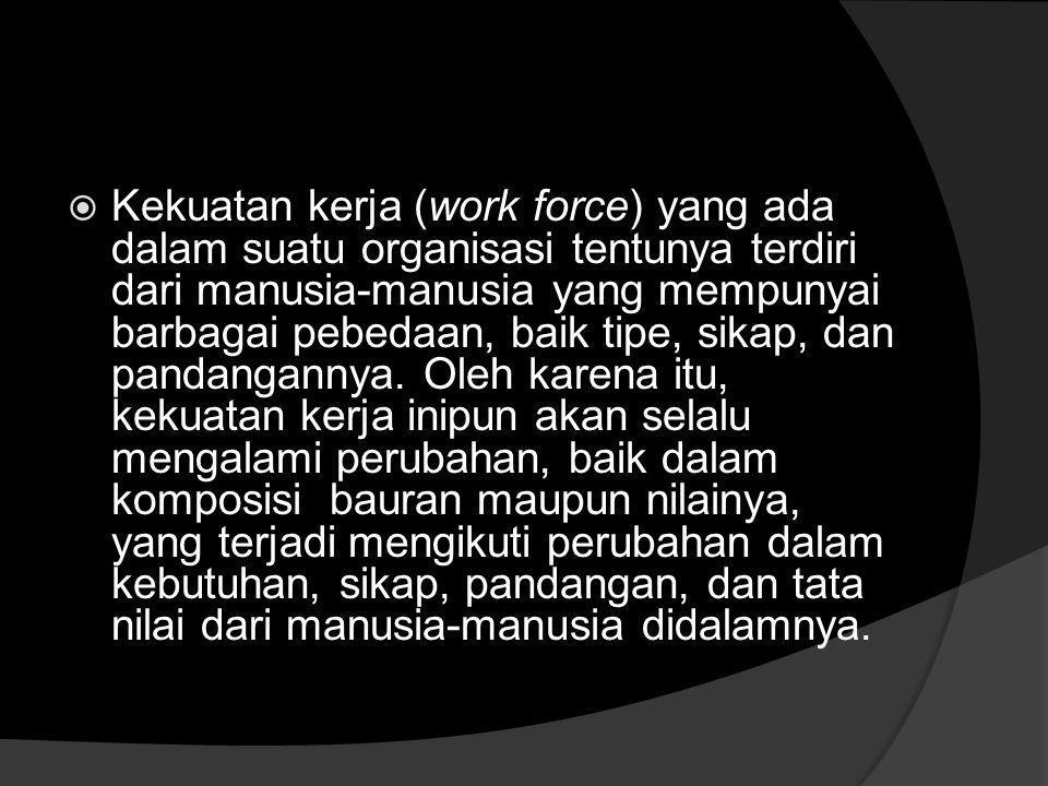 Kekuatan kerja (work force) yang ada dalam suatu organisasi tentunya terdiri dari manusia-manusia yang mempunyai barbagai pebedaan, baik tipe, sikap, dan pandangannya.