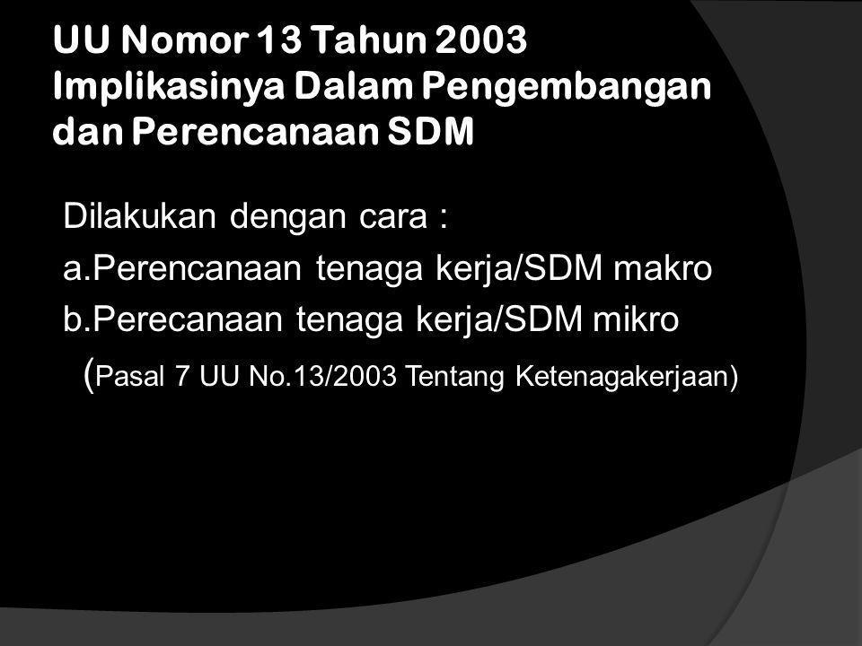 UU Nomor 13 Tahun 2003 Implikasinya Dalam Pengembangan dan Perencanaan SDM
