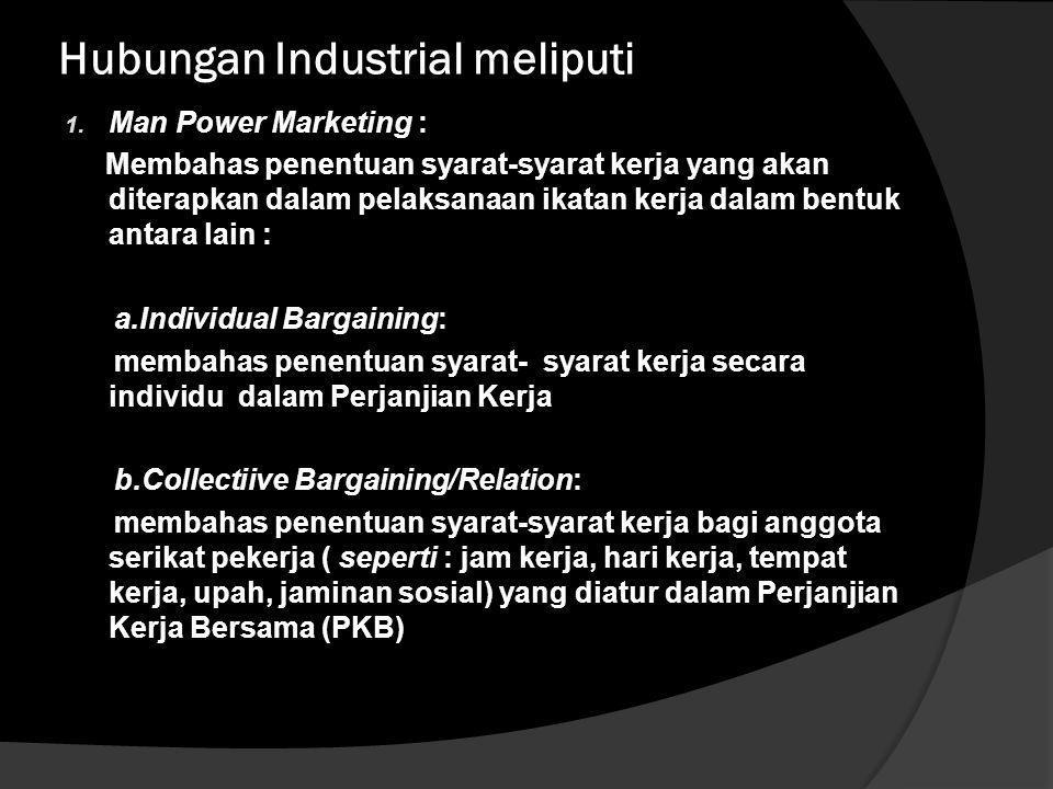Hubungan Industrial meliputi
