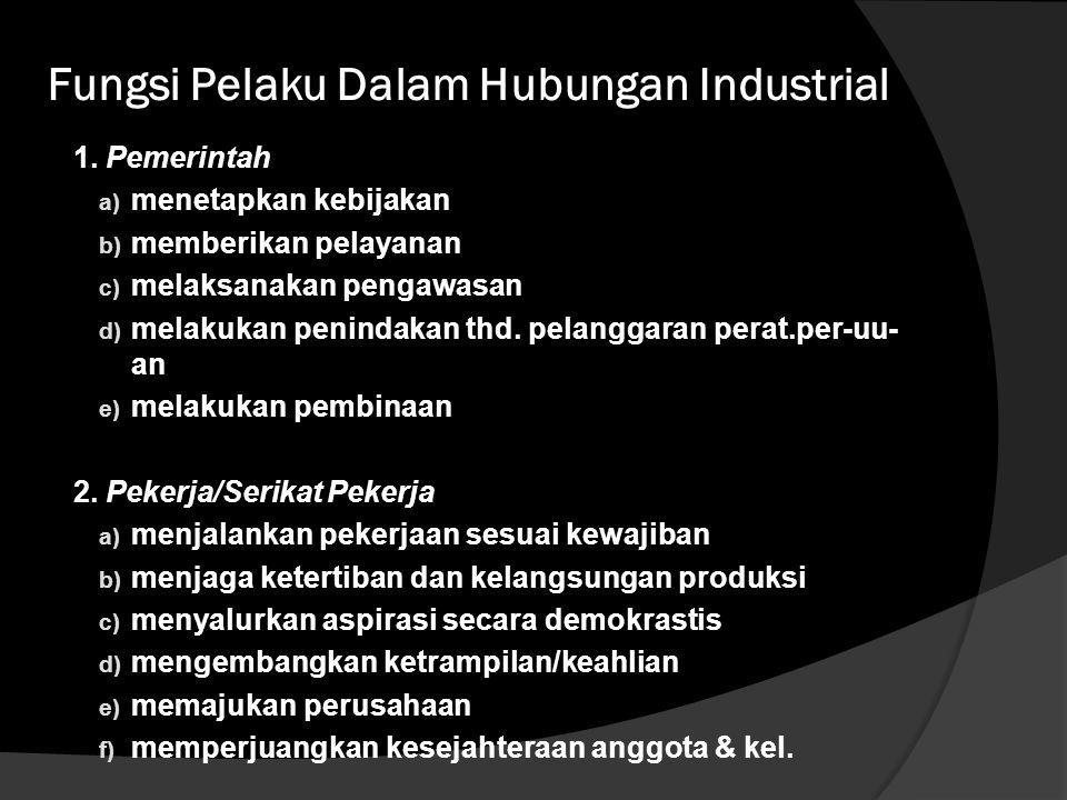 Fungsi Pelaku Dalam Hubungan Industrial