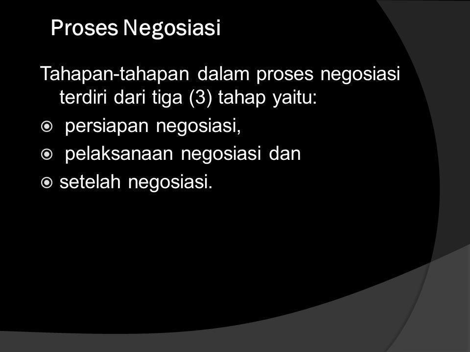 Proses Negosiasi Tahapan-tahapan dalam proses negosiasi terdiri dari tiga (3) tahap yaitu: persiapan negosiasi,