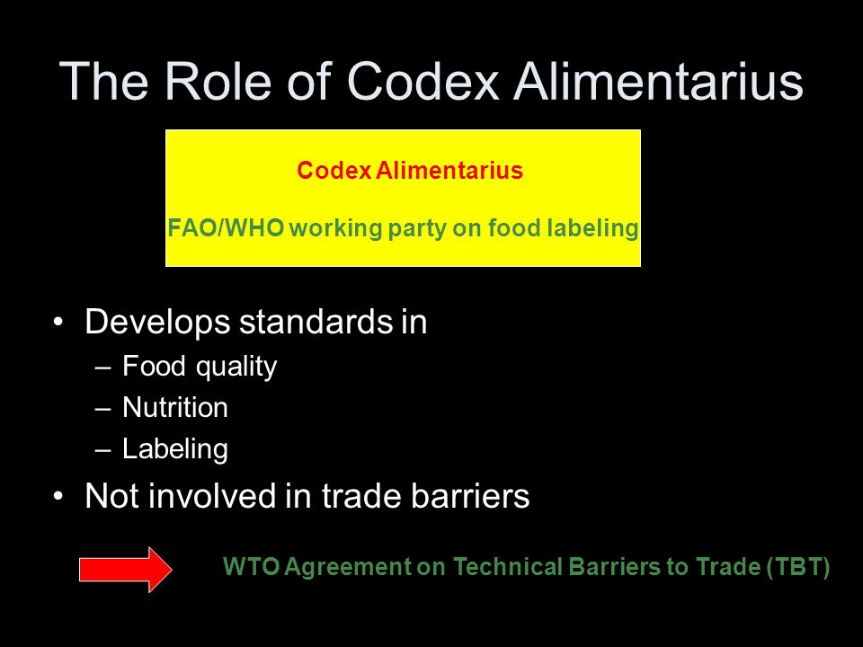 The Role of Codex Alimentarius