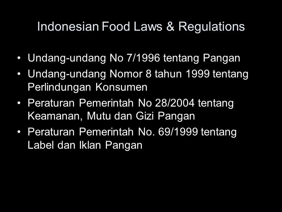 Indonesian Food Laws & Regulations
