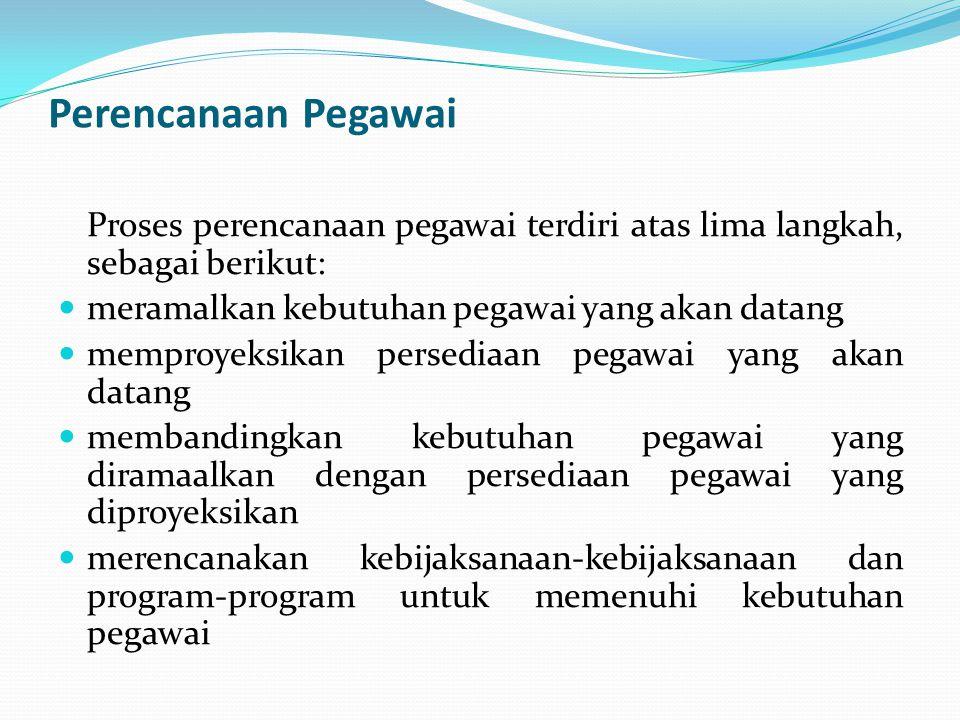 Perencanaan Pegawai Proses perencanaan pegawai terdiri atas lima langkah, sebagai berikut: meramalkan kebutuhan pegawai yang akan datang.