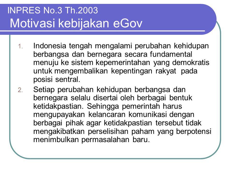 INPRES No.3 Th.2003 Motivasi kebijakan eGov