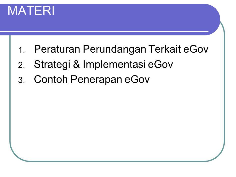 MATERI Peraturan Perundangan Terkait eGov Strategi & Implementasi eGov