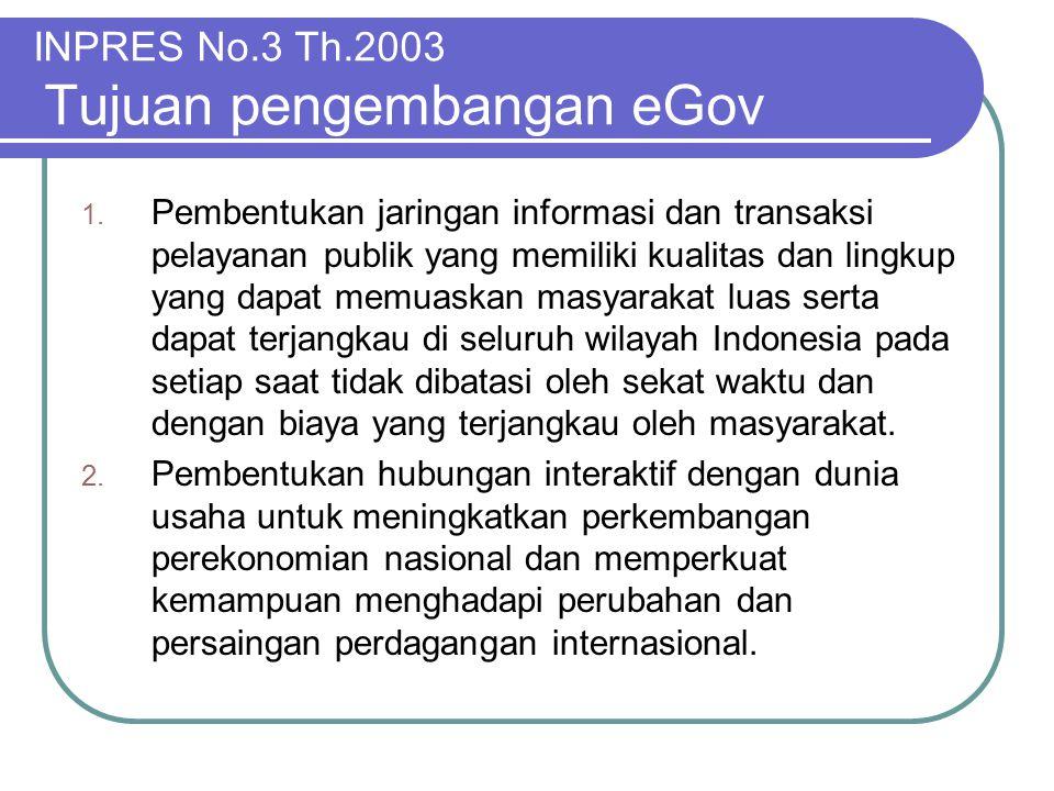 INPRES No.3 Th.2003 Tujuan pengembangan eGov