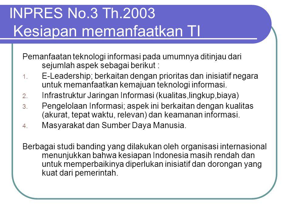 INPRES No.3 Th.2003 Kesiapan memanfaatkan TI
