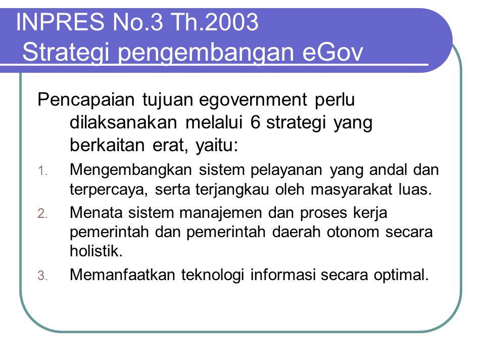 INPRES No.3 Th.2003 Strategi pengembangan eGov