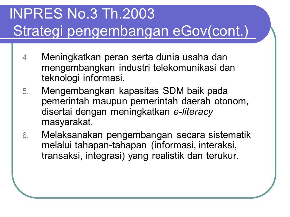 INPRES No.3 Th.2003 Strategi pengembangan eGov(cont.)