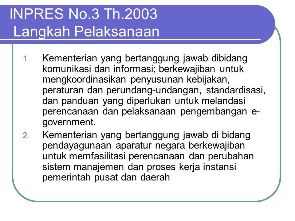 INPRES No.3 Th.2003 Langkah Pelaksanaan