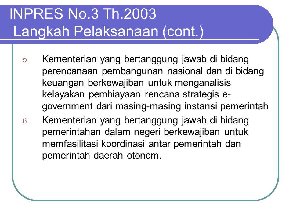 INPRES No.3 Th.2003 Langkah Pelaksanaan (cont.)