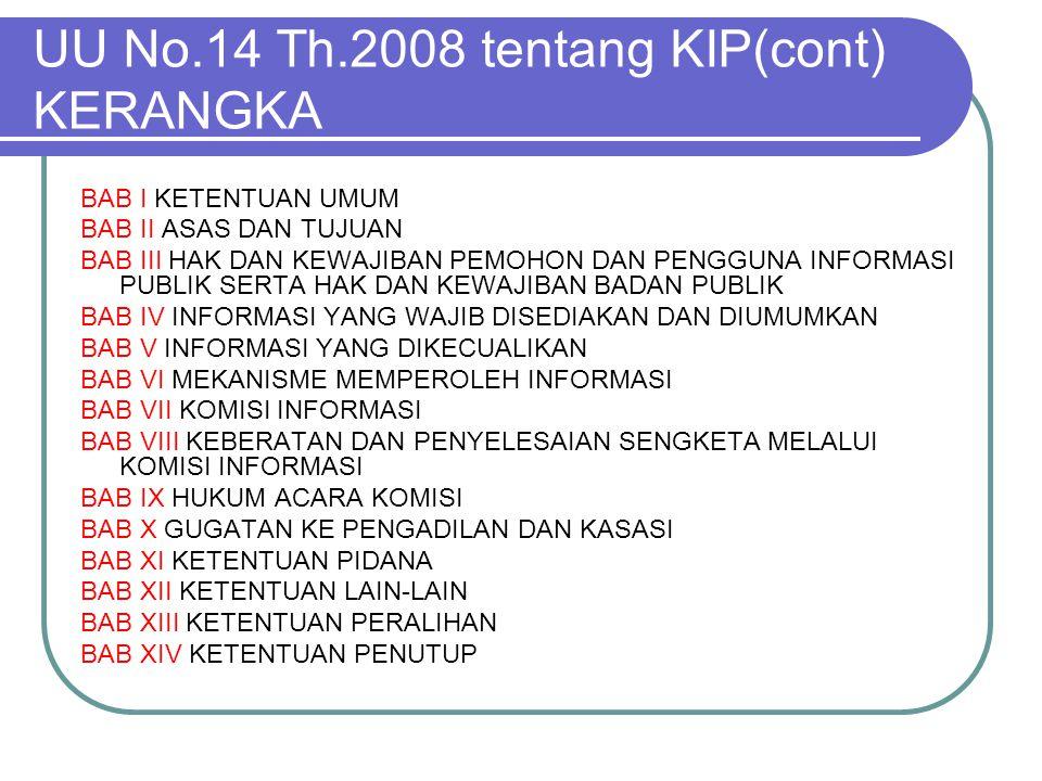 UU No.14 Th.2008 tentang KIP(cont) KERANGKA
