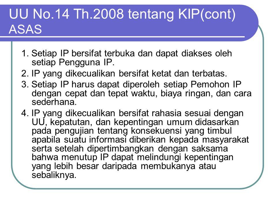UU No.14 Th.2008 tentang KIP(cont) ASAS