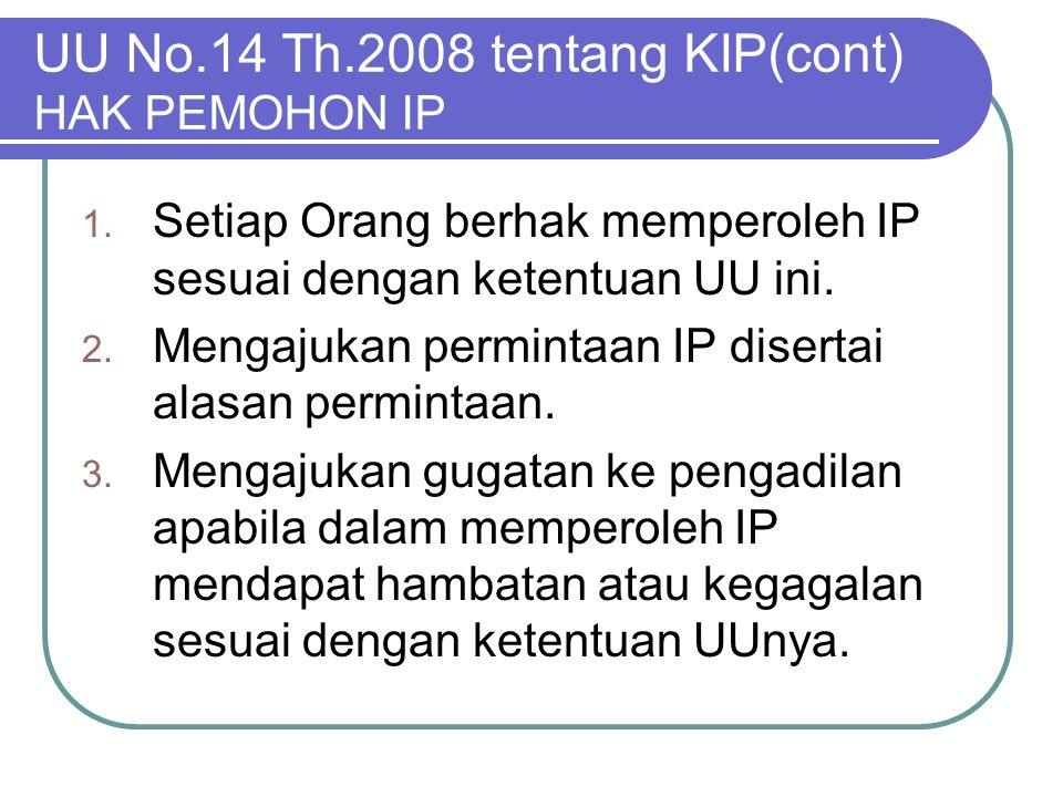 UU No.14 Th.2008 tentang KIP(cont) HAK PEMOHON IP