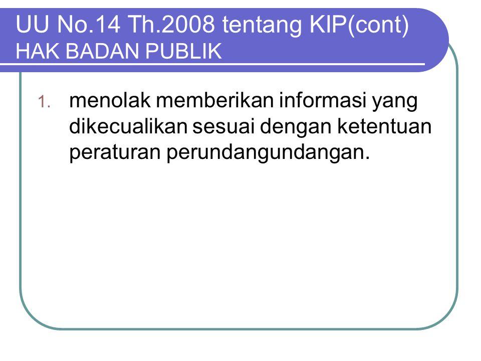 UU No.14 Th.2008 tentang KIP(cont) HAK BADAN PUBLIK