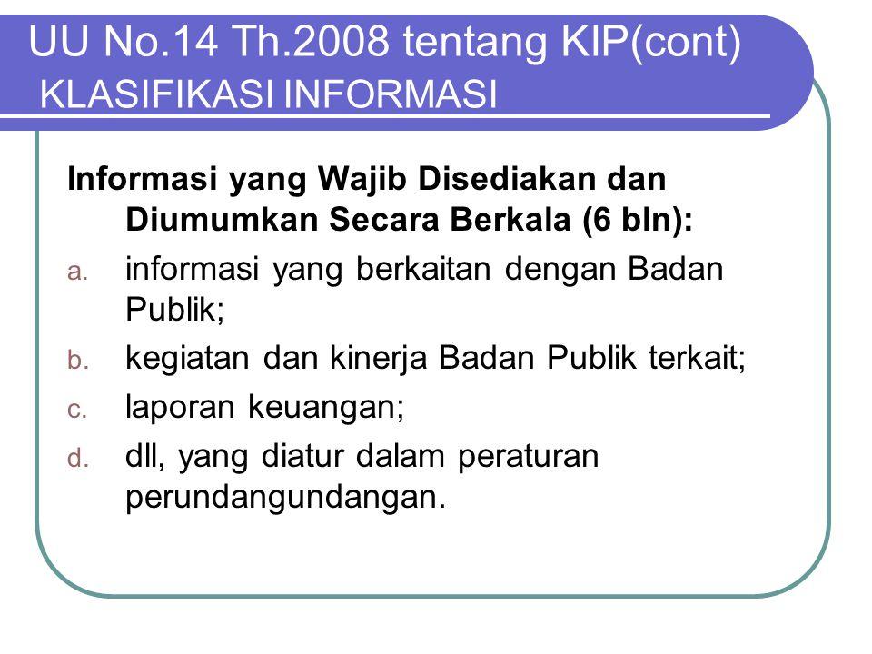 UU No.14 Th.2008 tentang KIP(cont) KLASIFIKASI INFORMASI