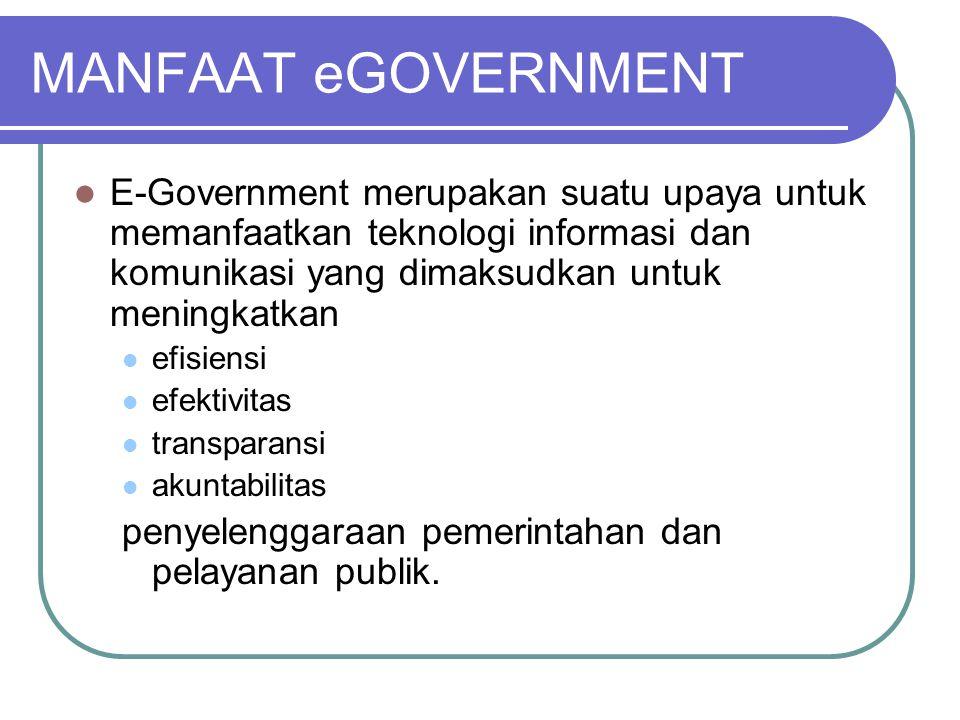 MANFAAT eGOVERNMENT E-Government merupakan suatu upaya untuk memanfaatkan teknologi informasi dan komunikasi yang dimaksudkan untuk meningkatkan.