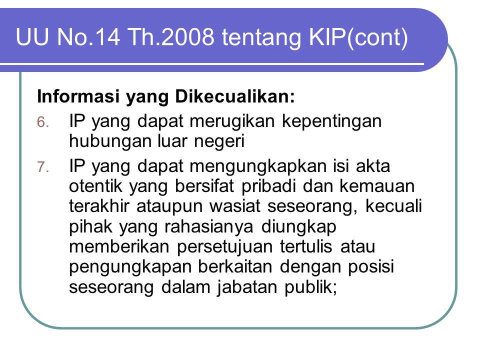 UU No.14 Th.2008 tentang KIP(cont)