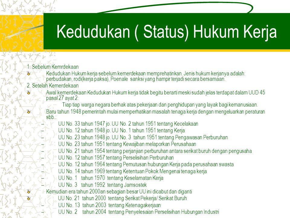 Kedudukan ( Status) Hukum Kerja