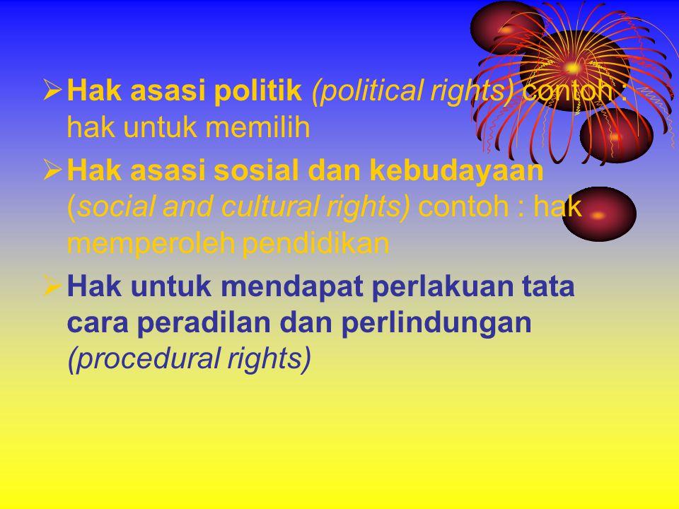 Hak asasi politik (political rights) contoh : hak untuk memilih