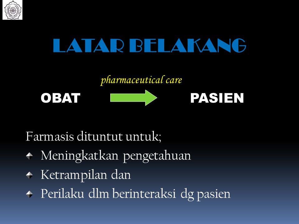 LATAR BELAKANG pharmaceutical care OBAT PASIEN
