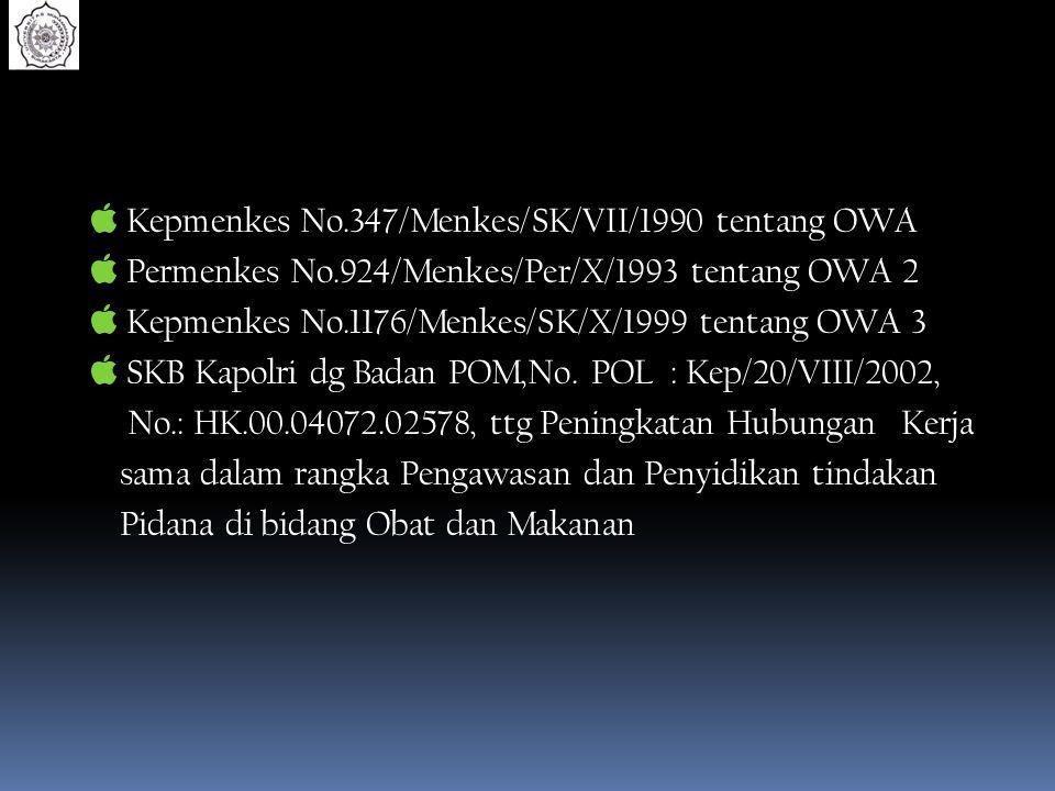 Kepmenkes No.347/Menkes/SK/VII/1990 tentang OWA