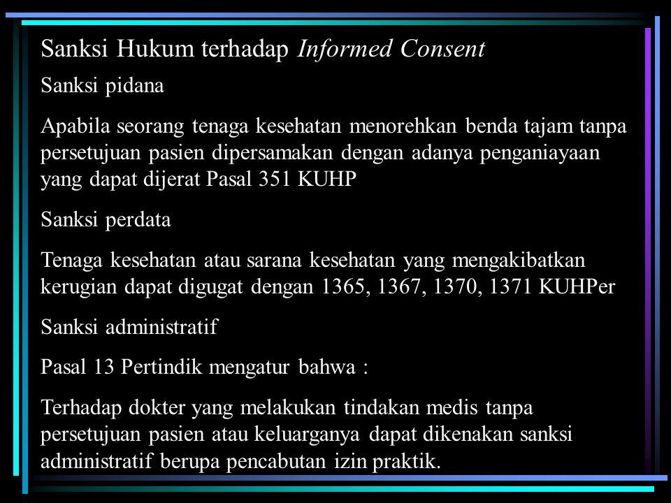 Sanksi Hukum terhadap Informed Consent