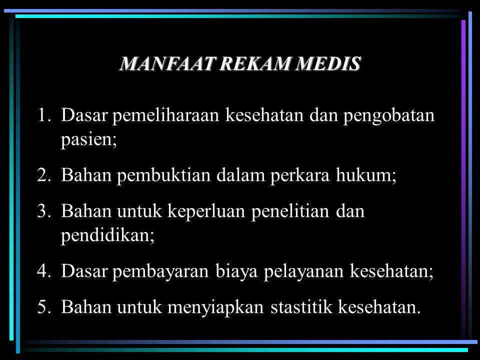 MANFAAT REKAM MEDIS Dasar pemeliharaan kesehatan dan pengobatan pasien; Bahan pembuktian dalam perkara hukum;