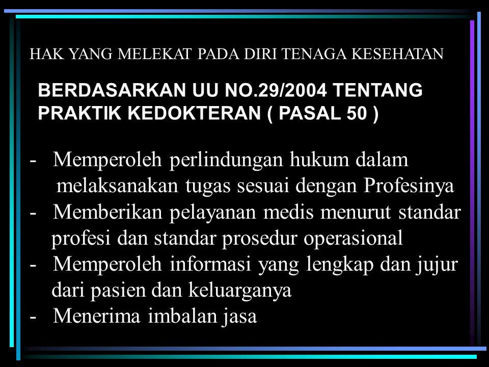 - Memperoleh perlindungan hukum dalam