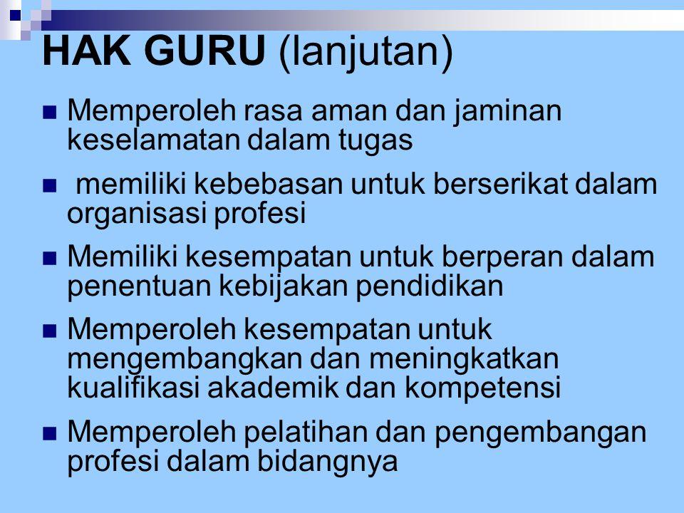 HAK GURU (lanjutan) Memperoleh rasa aman dan jaminan keselamatan dalam tugas. memiliki kebebasan untuk berserikat dalam organisasi profesi.