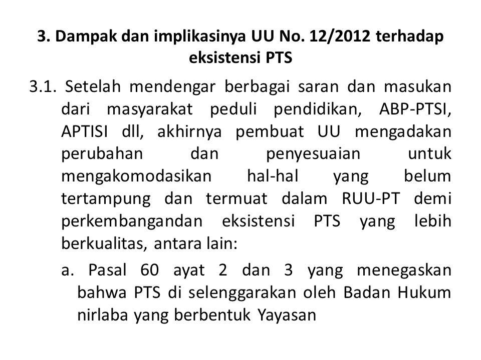 3. Dampak dan implikasinya UU No. 12/2012 terhadap eksistensi PTS