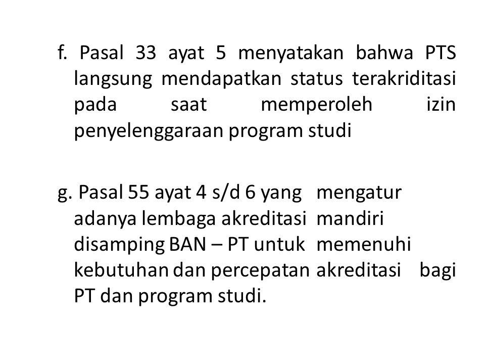 f. Pasal 33 ayat 5 menyatakan bahwa PTS