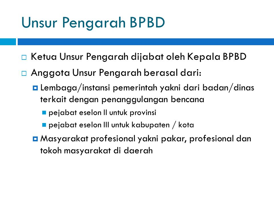 Unsur Pengarah BPBD Ketua Unsur Pengarah dijabat oleh Kepala BPBD