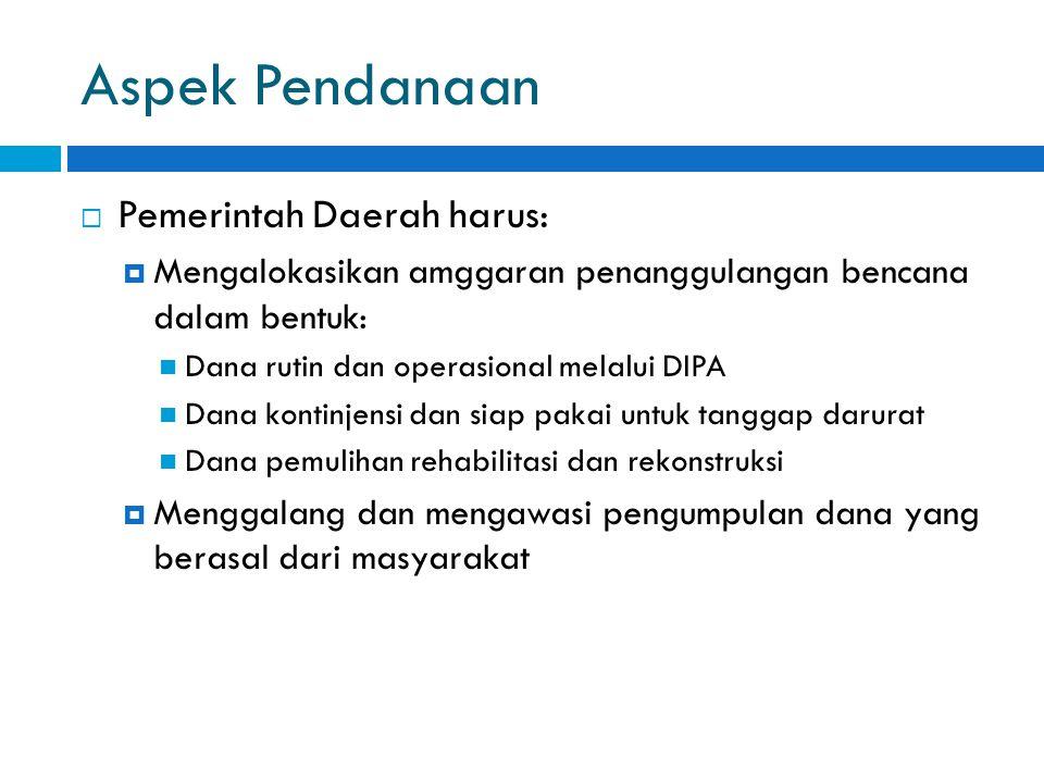 Aspek Pendanaan Pemerintah Daerah harus: