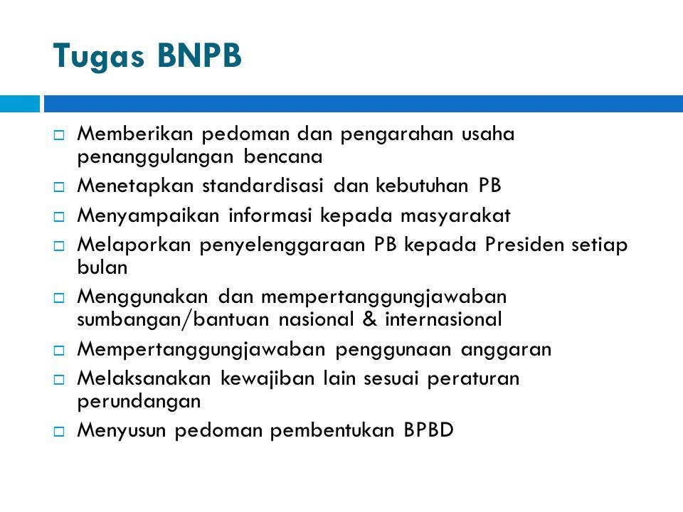 Tugas BNPB Memberikan pedoman dan pengarahan usaha penanggulangan bencana. Menetapkan standardisasi dan kebutuhan PB.